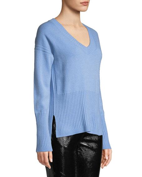 Ribbed V-Neck Cashmere Sweater