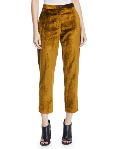 Poppy Velvet High-Rise Cropped Pants