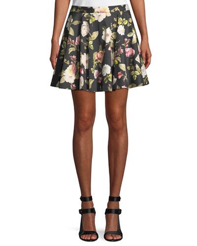 Blaise Floral-Print Trapeze Mini Skirt