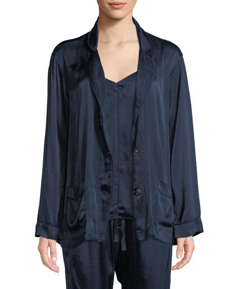 XIRENA Jules Charmeuse Lounge Blazer in Dark Blue