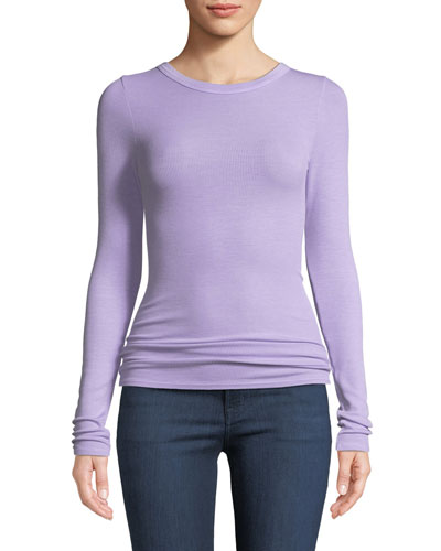 Ribbed Fitted Long-Sleeve Crewneck Sweater