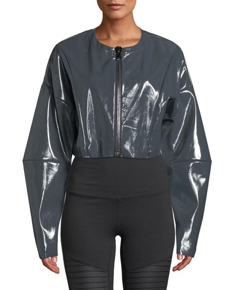 Liquid Cropped Shiny Zip-Front Jacket