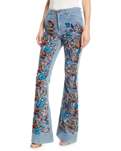 Beautiful Embroidered High-Rise Bell-Bottom Jeans