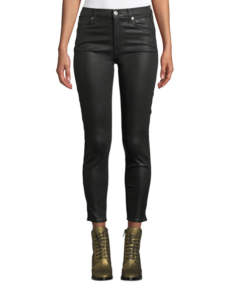 7 For All Mankind Coated High-Waist Ankle Skinny