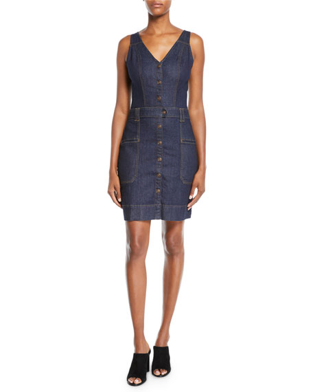 7 For All Mankind Utility Button-Front Sleeveless Denim