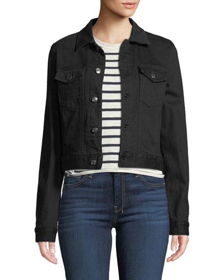 7 For All Mankind CROPPED DENIM JACKET WITH BEADED FRINGE