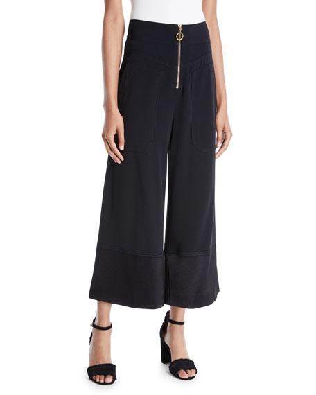 Wide-Leg Cropped Crepe Pants
