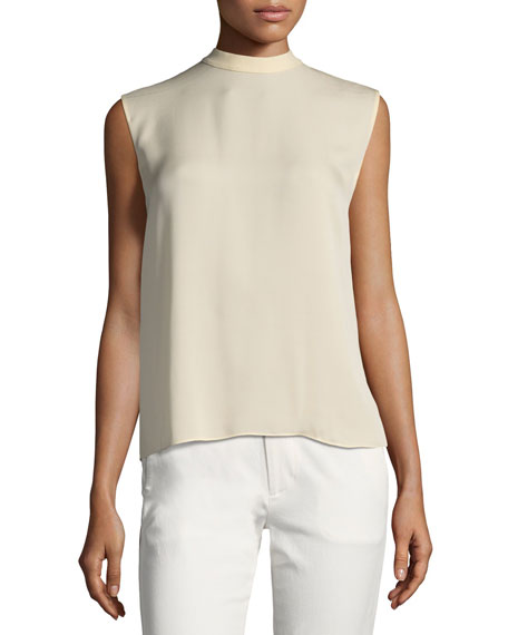8009ceafba2622 Vince Self-Tie Sleeveless Silk Blouse