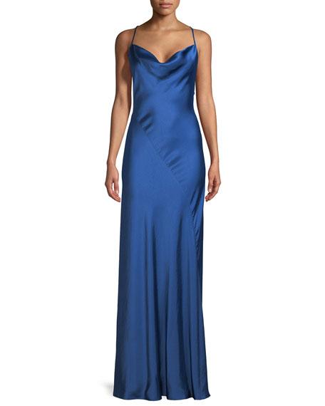 Sleeveless Cowl-Neck Bias-Seam Satin Evening Gown