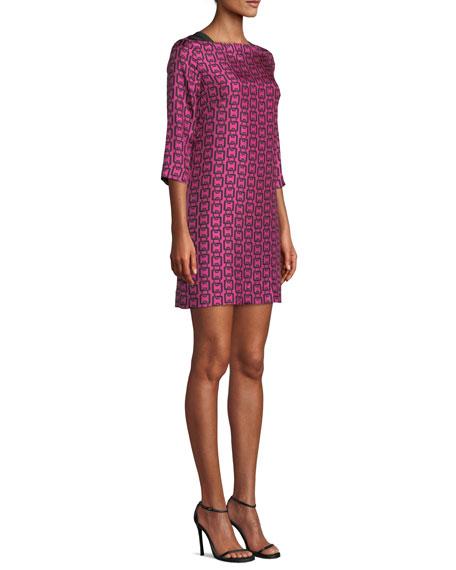 Julia Boat-Neck 3/4-Sleeve Chain-Print Twill Dress
