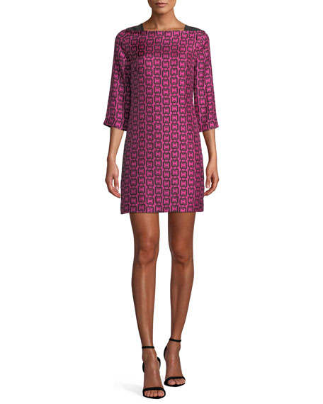 Julia Boat-Neck 3/4-Sleeve Chain-Print Twill Dress