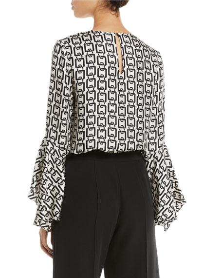 Holly Bell-Sleeve Chain-Print Twill Top
