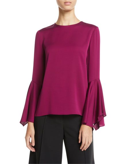Holly Jewel-Neck Flared-Sleeves Stretch-Silk Top