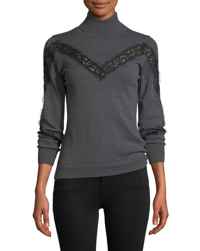 Turtleneck Lace-Inset Long-Sleeve Wool Pullover Sweater