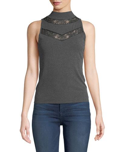 Mock-Neck Sleeveless Lace-Inset Wool Shell