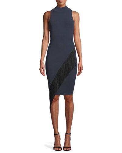 Mock-Neck Sleeveless Body-Con Angled Fringe Dress