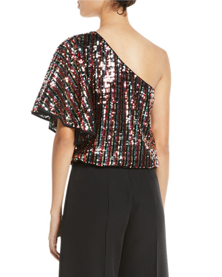 One-Shoulder Butterfly-Sleeve Striped Sequin Top