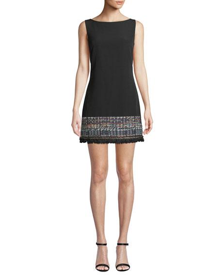 Milly Carla Boat-Neck Sleeveless A-Line Crepe Dress w/