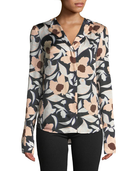 CHRISTIAN WIJNANTS Tarani Floral Silk Charmeuse Button-Down Top in Pink Pattern
