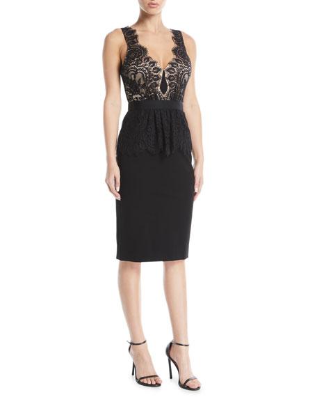 CATHERINE DEANE Lilah Racerback Dress In Lace & Ponte in Black