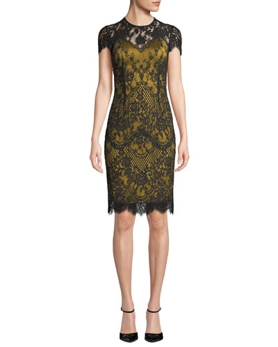 Libba Cap-Sleeve Lace Dress