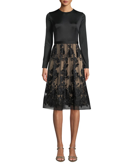 CATHERINE DEANE Ling Long-Sleeve Dress W/ Lace Skirt & Sequins in Black