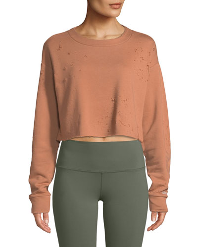 Fierce Distressed Crewneck Cropped Pullover Sweatshirt