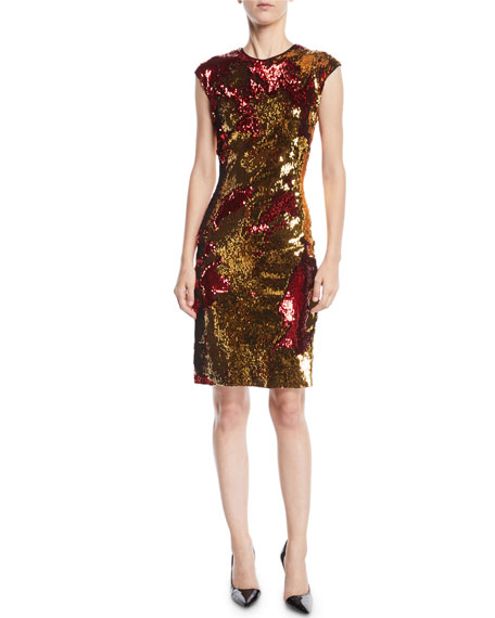 NK32 NAEEM KHAN Two-Tone Sequin Dress in Red/Gold