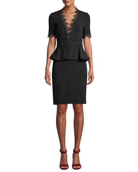 NK32 NAEEM KHAN V-Neck Peplum Dress W/ Lace in Black