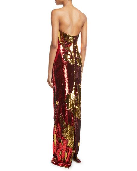 Strapless Sequin Flocked Gown