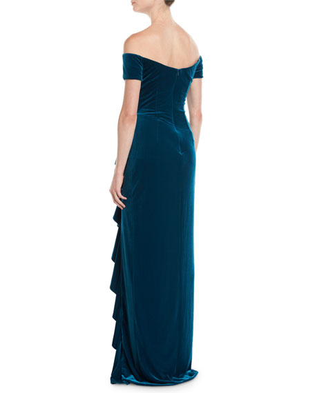 Off-the-Shoulder Velvet Gown Dress