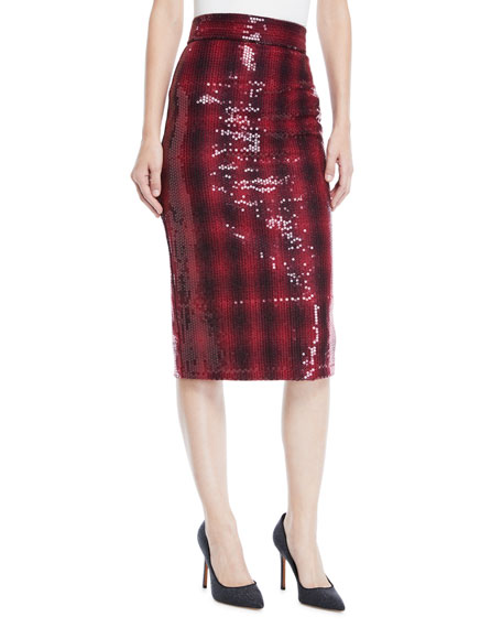 3af039862 Badgley Mischka Collection Plaid Sequin Pencil Skirt