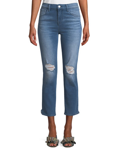 Ruby Distressed High-Rise Cropped Cigarette Jeans