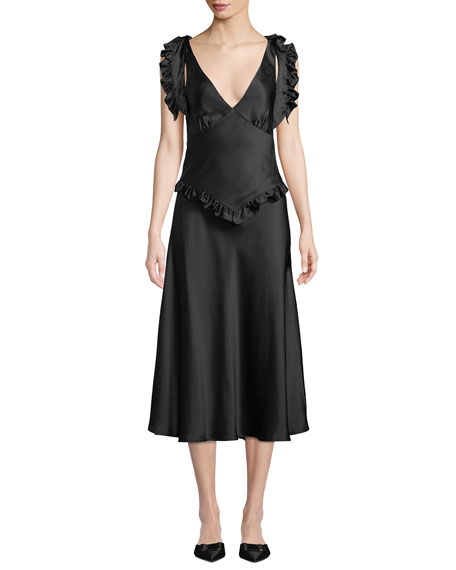 MAGGIE MARILYN YOU'RE THE ONE SILK SATIN RUFFLE DRESS