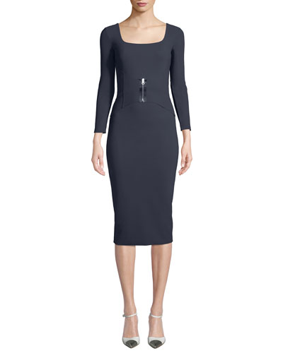 Humette Midi Dress w/ Front Zip