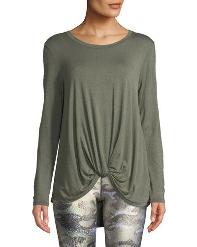 Twist-Front Long-Sleeve Jersey Top