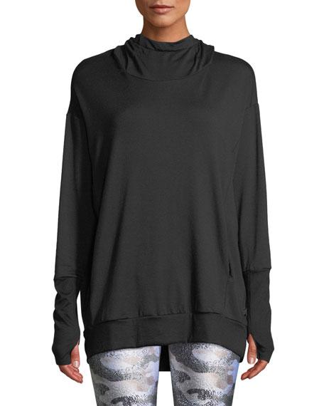 Terez Hooded Cowl-Neck Sweatshirt, BLACK PATTERN