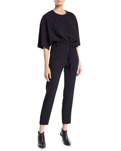 Appreciate 3/4-Sleeve Belted Jumpsuit