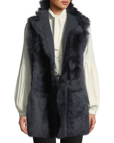 Mid-Length Reversible Shearling & Leather Vest