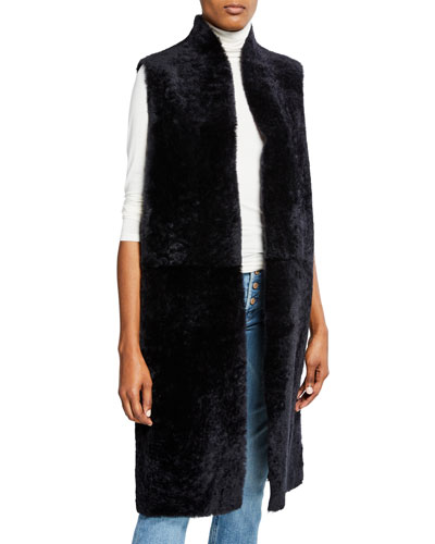 Reversible Leather & Shearling Extra-Long Vest