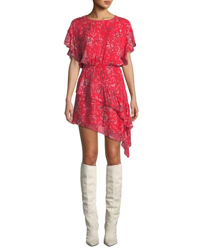 Blame Printed Asymmetrical Short Dress