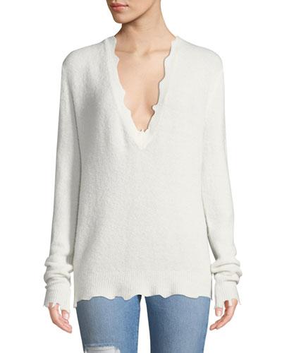 Belen Scalloped Wool Pullover Sweater