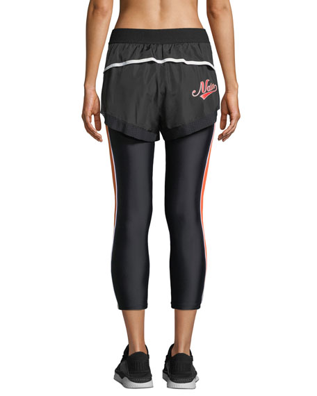 Long Lift Two-in-One Performance Leggings with Shorts Overlay