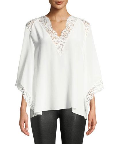 Hawlk Silk Kimono-Sleeve Top with Lace