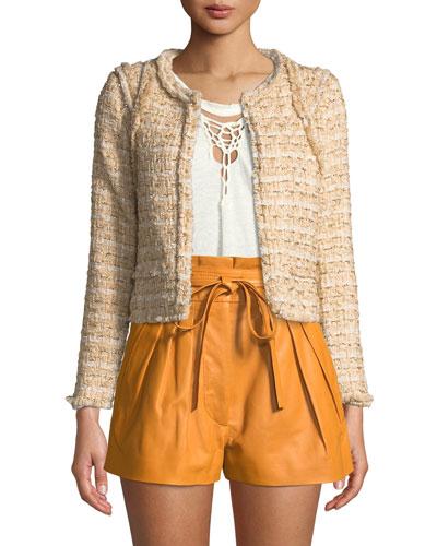 Disco Knit Open-Front Jacket