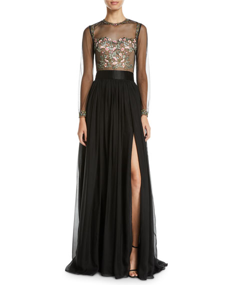 CATHERINE DEANE Leslie Embellished & Sheer Long-Sleeve Gown in Black