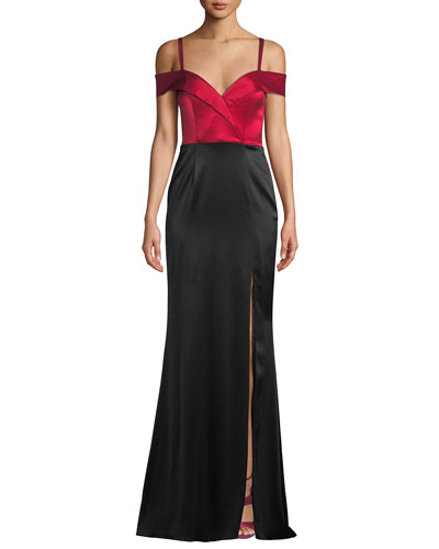 Liza Off-the-Shoulder Colorblock Gown in Satin