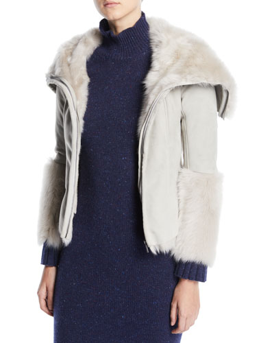 Zip-Front Suede Shearling Jacket