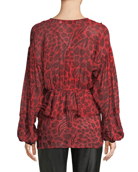 Realize Animal-Print Ruffle Long-Sleeve Top