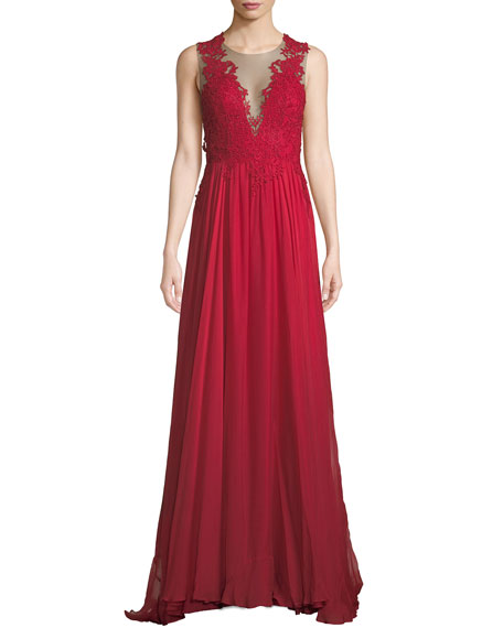 CATHERINE DEANE Lova Plunge-Illusion Low-Back Gown W/ Tulle & Lace in Red
